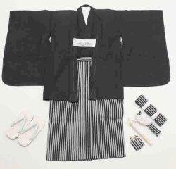 画像2: 七五三男の子5歳紋付着物袴11点セット合繊(家紋入れ込み) <七五三の着付けに必要な最低限の品物が揃います>
