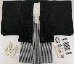 画像1: 七五三男の子5歳紋付着物袴11点セット合繊(家紋入れ込み)