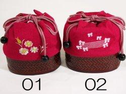 画像2: 女の子カゴ付き刺繍巾着