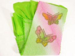 画像1: 七五三正絹おびあげ 黄緑 蝶