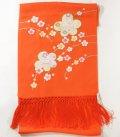 七五三正絹うさぎ刺繍金彩しごき 橙