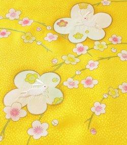 画像2: 七五三正絹うさぎ刺繍金彩しごき 黄色