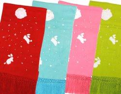 画像1: 七五三正絹絞り梅刺繍うさぎしごき