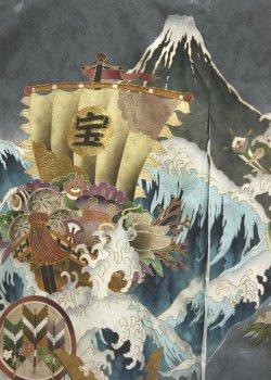 画像2: 男の子お宮参り着物(宝船 灰)