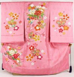 画像1: 女の子お宮参り着物 ピンク