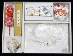 画像1: 男児お宮参りフード7点セット(刺繍入り)
