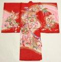 女の子 夏のお宮参り着物 絽 (赤)