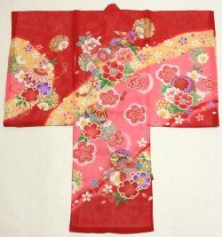 画像1: 女の子 夏のお宮参り着物 絽 (赤)
